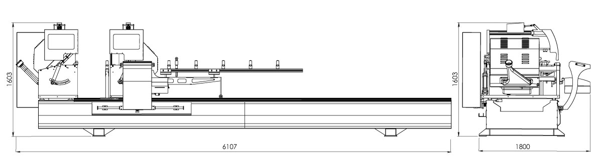 OMRM-133 Masina de debitat profile aluminiu la doua capete -dimensiuni
