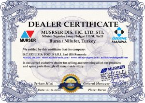 Utilaje PVC - certificat dealer Ozgenc - Edilizia Tools